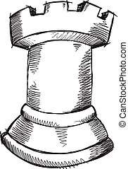 Doodle Sketch Chess Rook Vector art - Doodle Sketch Chess...