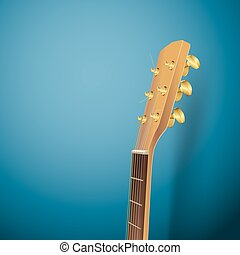 acoustic guitar head on blue background