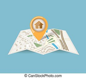map icon with pointer on blue background