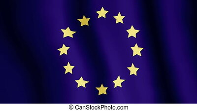 Evolving in the wind flag of the European Union - 4K video...