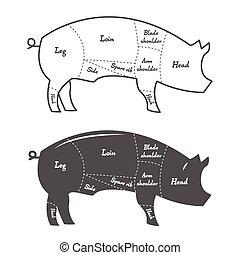 Detailed illustration, diagram, scheme or chart of pork cuts