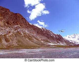 Helicopter Journey - A Helicopter passing through a mountain...