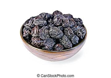 Raisins black in bowl - Black seedless raisins in a bowl...