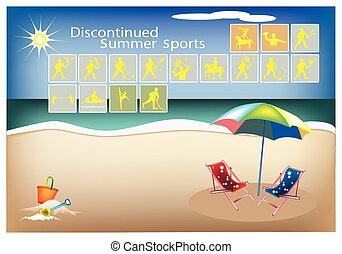 Set of 16 Discontinued Summer Sport Icons - Illustration...