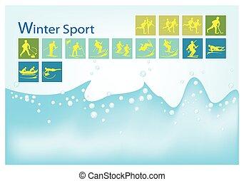 A Mega Set of 15 Winter Sport Icons - Illustration...