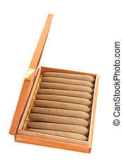 cigars - Full cigar box from wood isolated over white