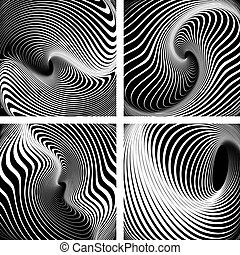 Whirlpool movement Op art backdrops set - Whirlpool movement...