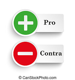Pro Contra Round Icons - Pro and contra round icons on the...