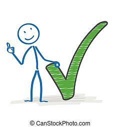 Stickman Green Tick Ok - Stickman with with green tick on...