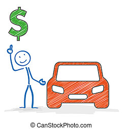 Stickman Car Dollar - Stickman with car on the white...