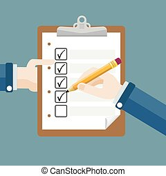 Hands Clipboard Pencil Checklist