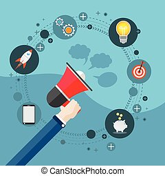 Flat Hand Bullhorn Digital Marketing