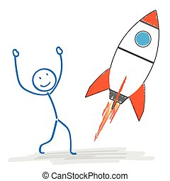 Stickman Starting Rocket - Stickman with starting rocket on...