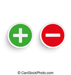 Pro Contra - Pro and contra round icons on the white...