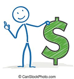 Stickman Dollar Okay - Stickman with Dollar on the white...