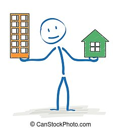 Stickman House Or Apartment - Stickman with with house and...