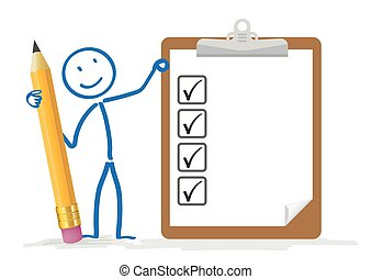 Stickman Pencil Clipboard Checklist