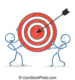 Stickman Red Target Arrow - Stickmen with red target on the...
