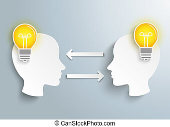 2 Heads 2 Bulbs - Infographic with 2 heads and 2 bulbs on...