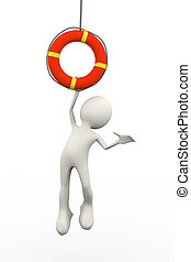 3d person hanging on life preserver lifebuoy ring - 3d...