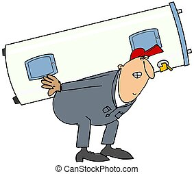 Plumber carrying water heater - This illustration depicts a...