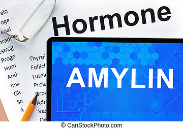 Tablet with amylin - Papers with hormones list and tablet...