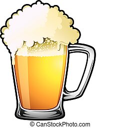 Draught Beer - Illustration of a large overflowing draught...