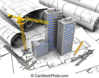 city constuction - 3d illustration of city construction and...