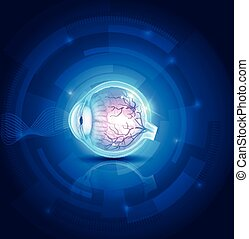 blu, visione, occhio, fondo, Estratto, umano, tecnologia