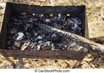 carbón, preparación, para, barbacoa, en,...