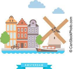 Amsterdam flat background vector on white background