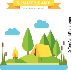 Camping flat vector background on white background
