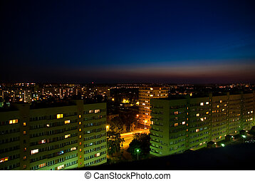 Big Residential housing estate by night