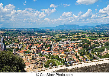 Panoramic view of Spoleto Umbria Italy
