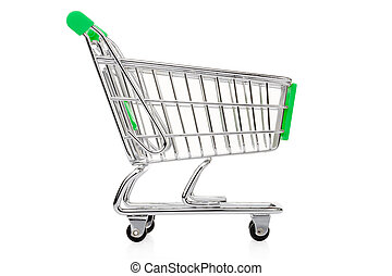 Green shopping cart isolated on white, clipping path...