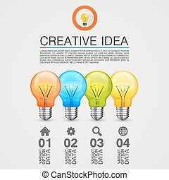 Idea of the bulbs in chart. Vector illustration