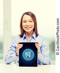 smiling businesswoman with tablet pc computer - business,...