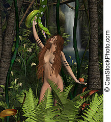 Woman and Snake - Woman in tropical forest looking at green...