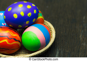 Easter eggs on basket