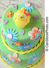 Easter chick fondant cake - Easter fondant cake with an...