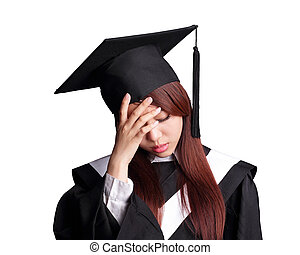 unhappy graduate student woman - unhappy sad student woman...