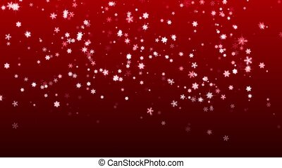 Christmas red background with snowflakes falling snow...