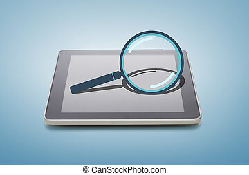 tablet pc with magnifying glass icon over screen -...