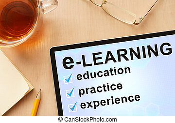 Tablet with word e-learning. - Tablet with words e-learning.