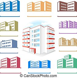 Multistoried building site icons logo set isolated on white...