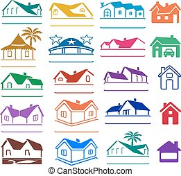 Buildings signs logo set - Buildings logo set isolated on...