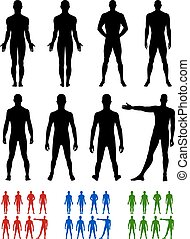 Full length front, back silhouette of man vector...