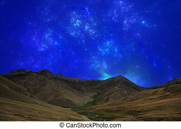 Fantastic star sky at night in mountain valley - Fantastic...