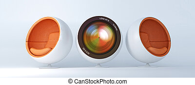Photo design - Composition with Camera lens with two cocoon...