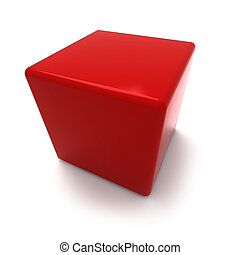 Red cube - 3D rendering of a red cube on a white background